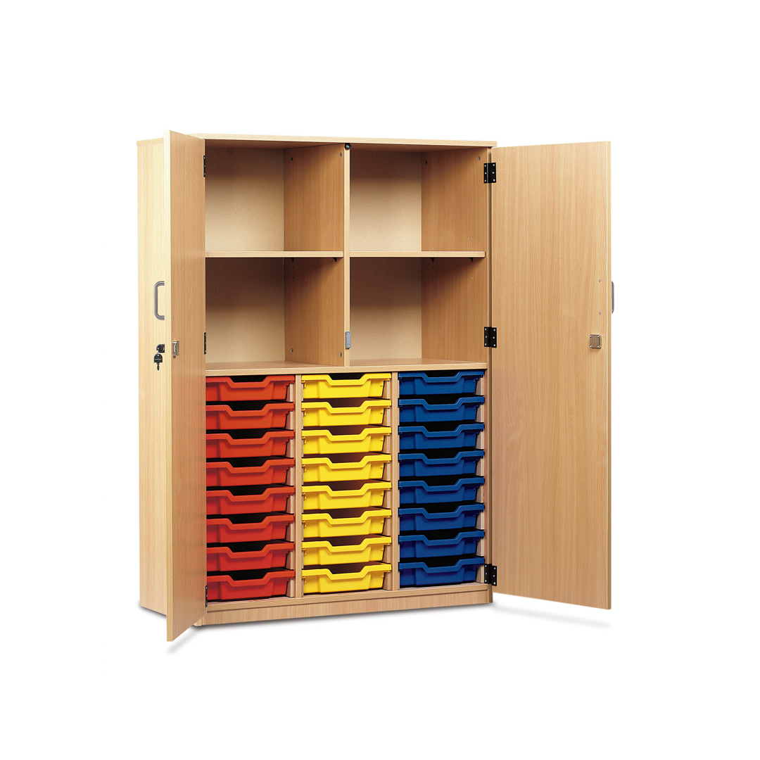 Monarch School Cupboard Lockable Door Storage Unit 24 Clear Shallow Trays Beech Meq24c