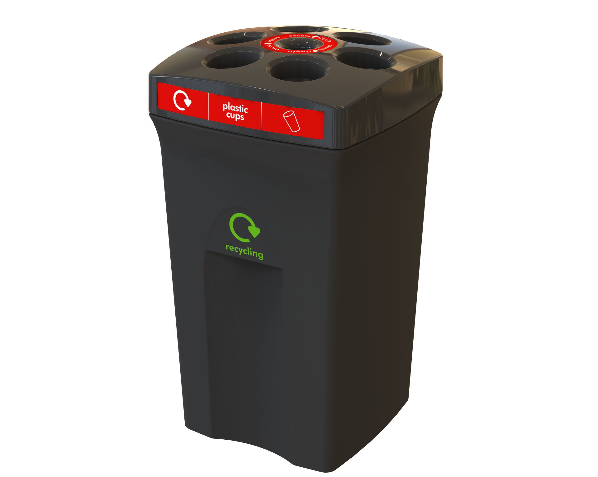 Envirocup Black Top And Base Red Labels Plastic Cups And