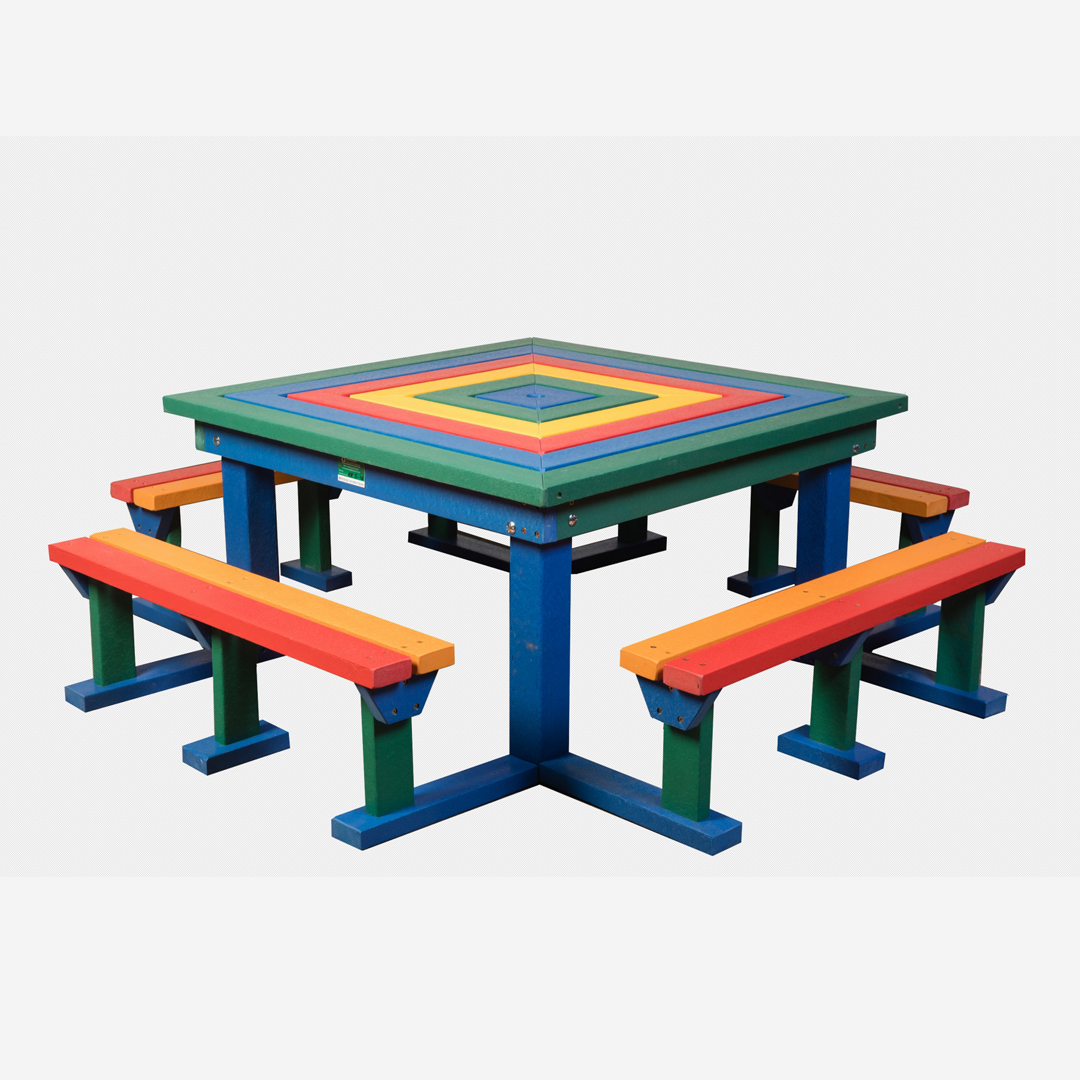 Junior Octobrunch Square Picnic Table Bench Seat Weatherproof - Square picnic table with benches