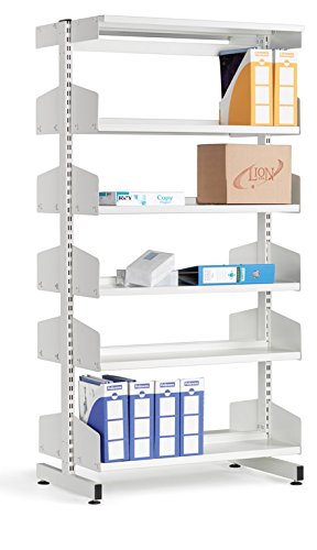 LibraryShelvingDoubleSided10ShelfWhite