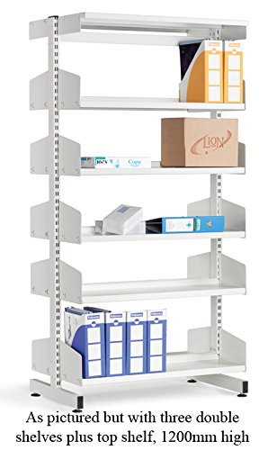 LibraryShelvingDoubleSided6ShelfWhite