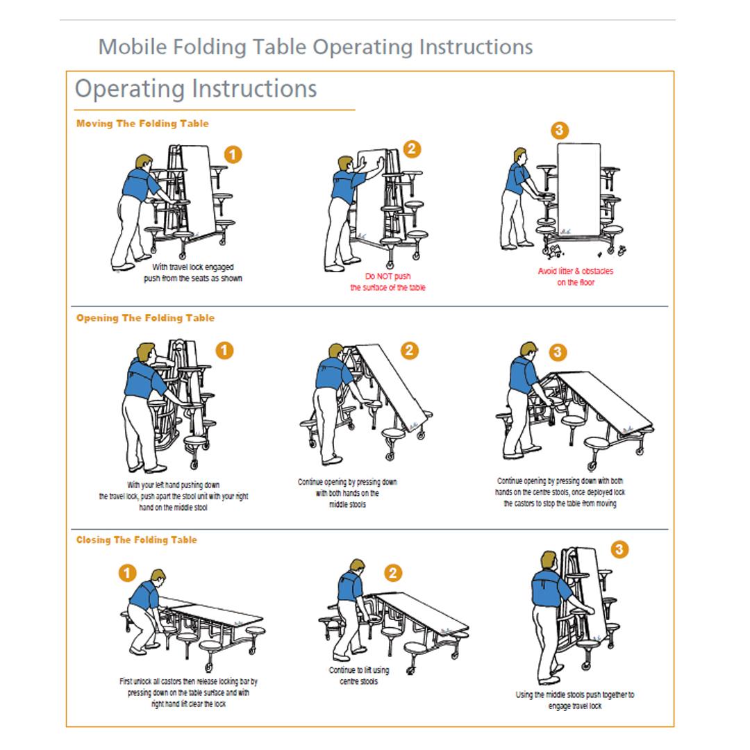 Rectangular Mobile Folding Table Dining Canteen 16seat
