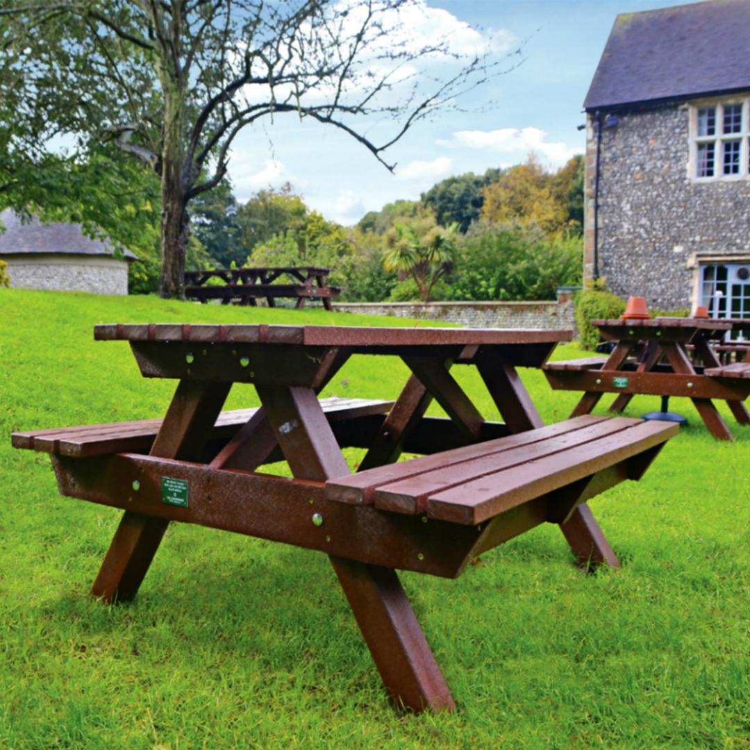 Pleasing Heavy Duty Picnic Table Bench 1500Mm Weatherproof Recycled Plastic Brown Customarchery Wood Chair Design Ideas Customarcherynet