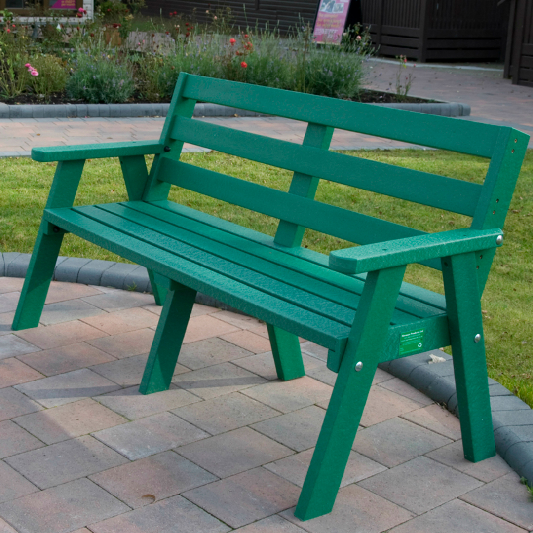 Adult Sloper Three Seat Bench Weatherproof Recycled ...